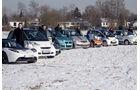 E-Autos, Kältetest, Gruppenbild