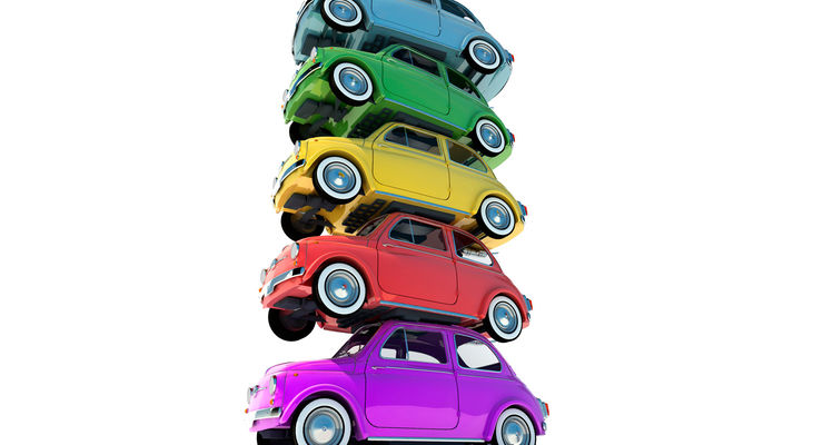 Farbentrends, Lackierung, gestapelte Autos