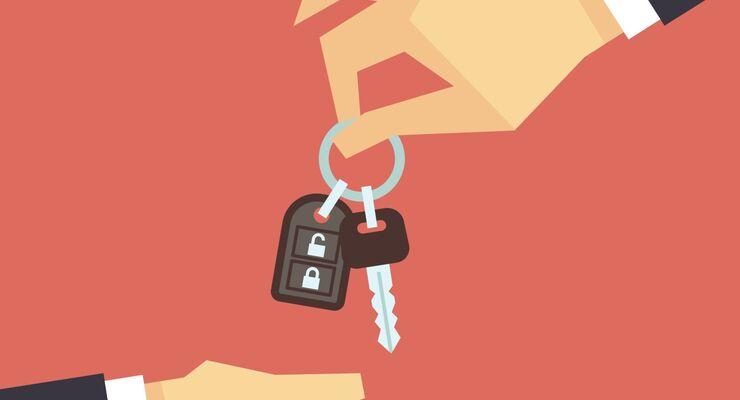 Schlüsselübergabe, Fahrzeugübergabe, Fahrzeugeinweisung, Autoschlüssel, Hand, Schlüssel