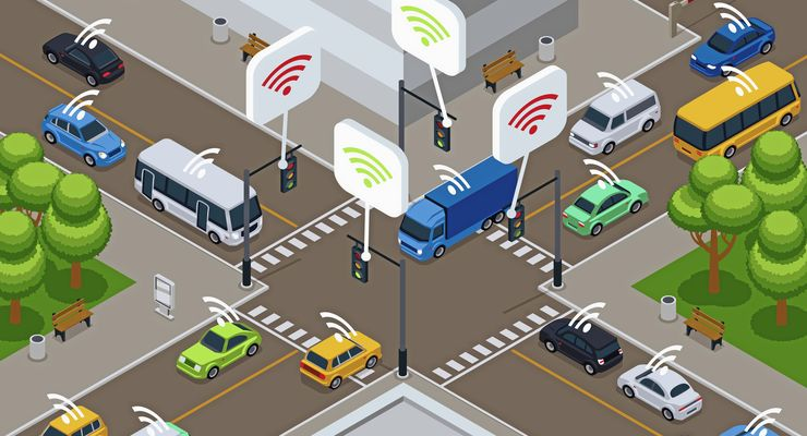 Vehicles with infrared sensor device. Unmanned smart cars in city traffic vector illustration